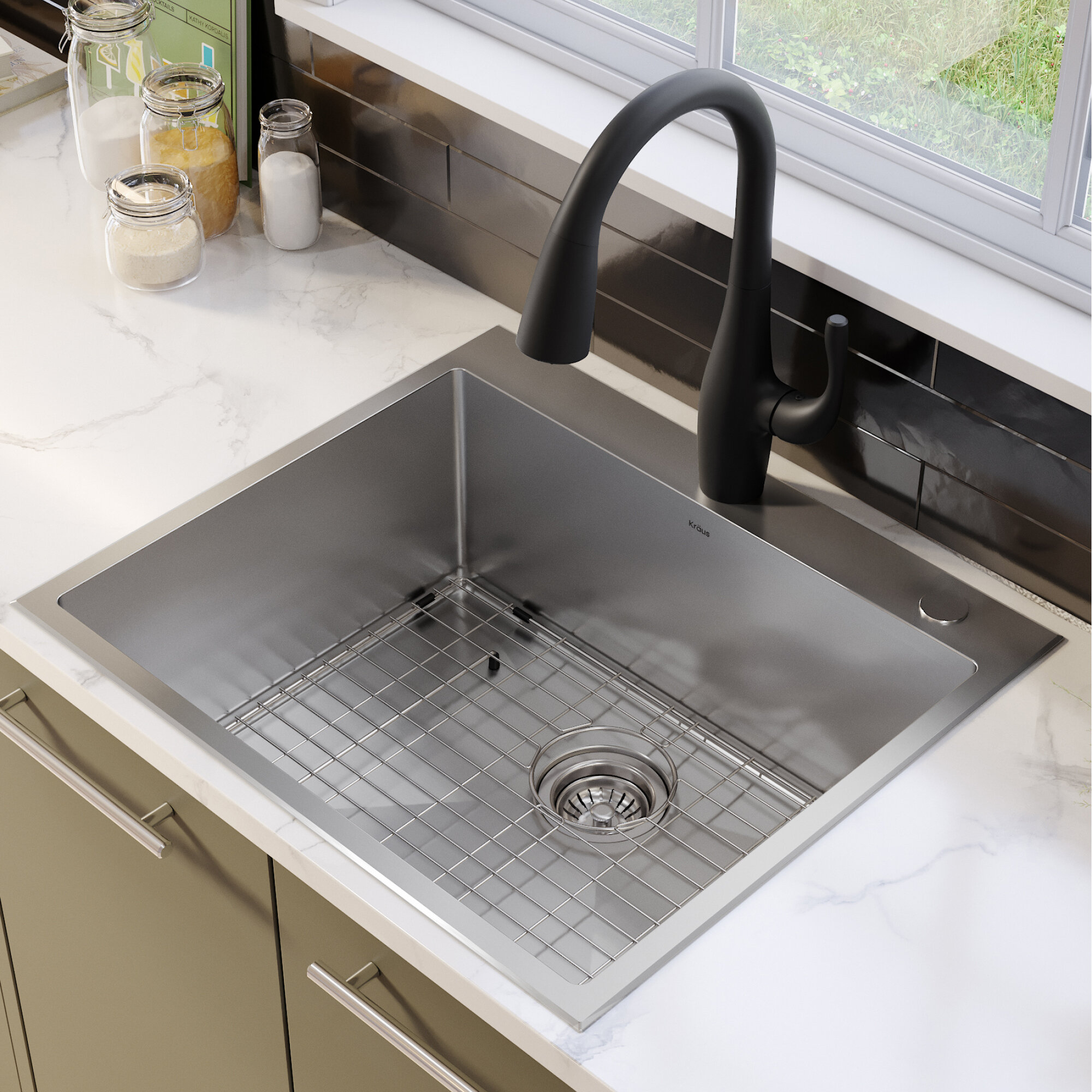 Kraus Standart Pro 16 Gauge 25 X 22 Drop In Kitchen Sink With Bottom Grid Drain Assembly And Drain Cap Reviews Wayfair