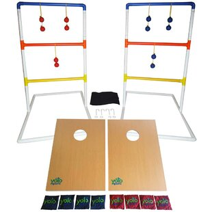 Yolo Sports Ultimate Toss Duo 10 Piece Cornhole and Ladder Ball Set