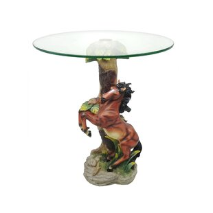 Acres Green Jumping Horse End Table by Loon Peak