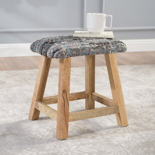Mahfouz Fabric and Wood Vanity Bench by Bungalow Rose