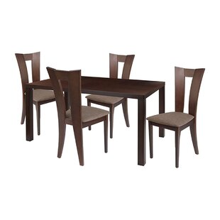 Stellan 5 Piece Solid Wood Dining Set by Ebern Designs