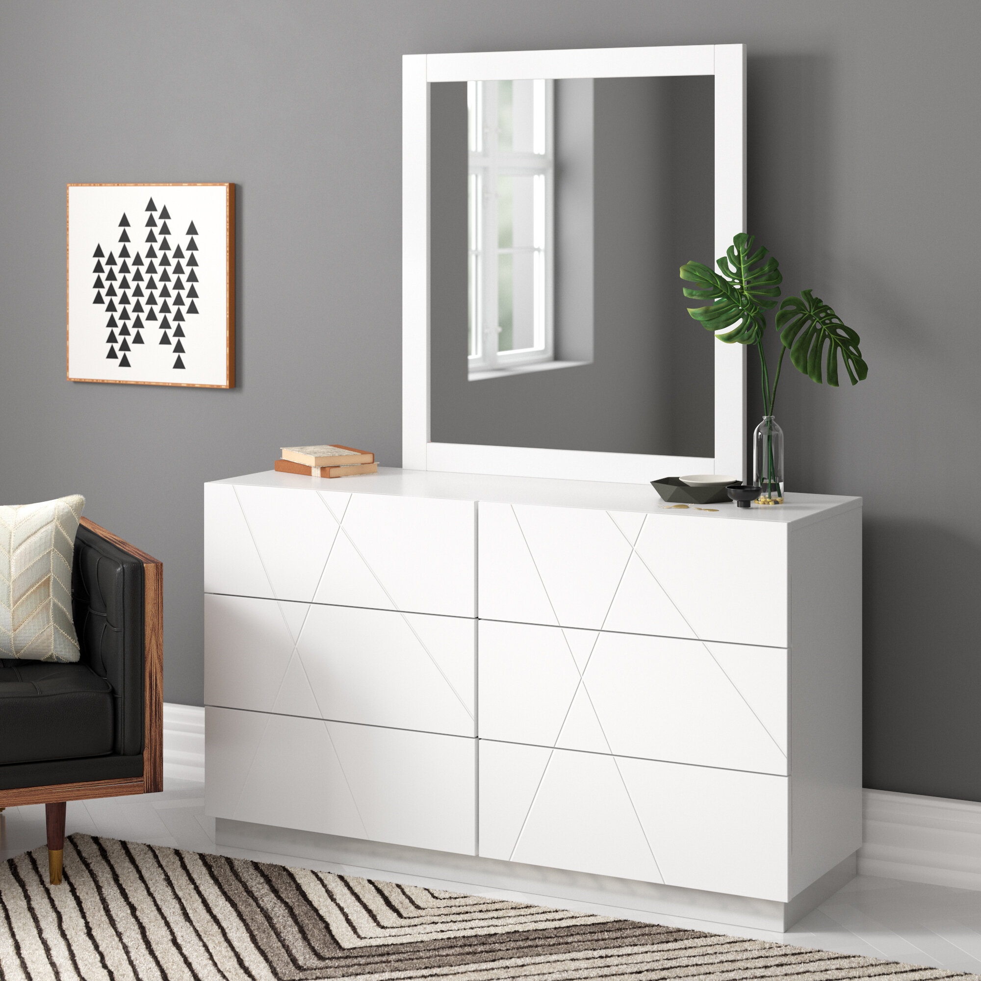 Allmodern Caroline 6 Drawer Double Dresser With Mirror Reviews Wayfair