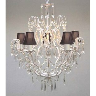 Rosdorf Park Clemence 5-Light Black Shade Shaded Chandelier