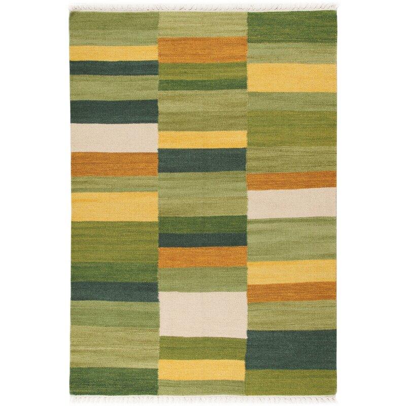 Flat Woven Wool Cotton Green Rug