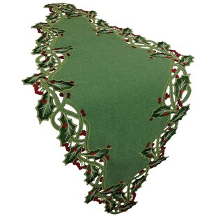 Holiday Holly Embroidered Cutwork Table Runner