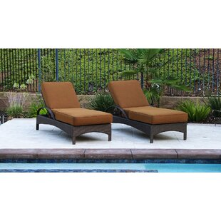 Afiya Double Sun Lounger Set Group with Cushion (Set of 2) by Latitude Run