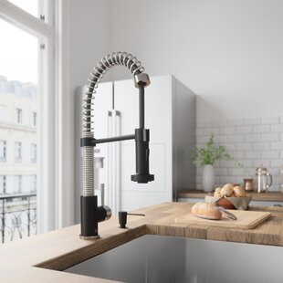 VIGO Edison Pull-Down Single Handle Kitchen Faucet With Soap Dispenser In Stainless