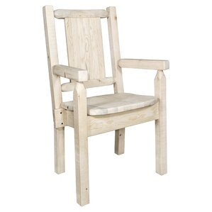 Reyes Rustic Hand-Crafted Captain's Solid Wood Dining Chair by Loon Peak