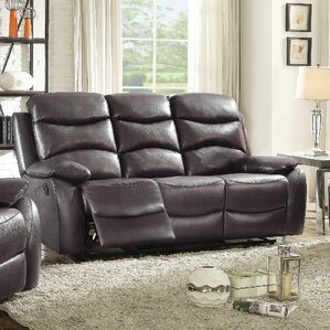 Lynx Double Leather Reclining Sofa by Latitude Run