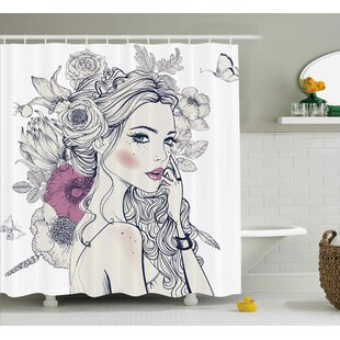 Laverne Portrait of a Beautiful Woman With Flowers on Her Hair and Butterflies Pattern Single Shower Curtain