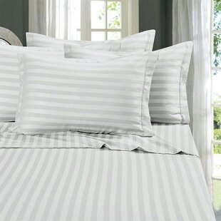 Rodriques 300 Thread Count Striped 100% Cotton Sateen Flat Sheet
