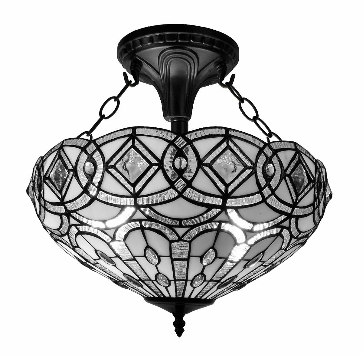 9a1e4859c588 AmoraLighting Tiffany 2-Light Semi Flush Mount   Reviews