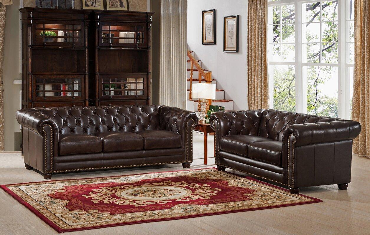 Amax Kensington 2 Piece Leather Living Room Set Reviews Wayfair Ca ~ Kensington Leather Sofa