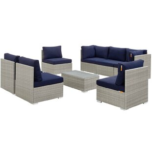 Heinrich Outdoor Patio 8 Piece Rattan Sectional Seating Group with Sunbrella Cushions by Highland Dunes