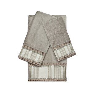 Norwood Embellished 3 Piece 100% Cotton Towel Set