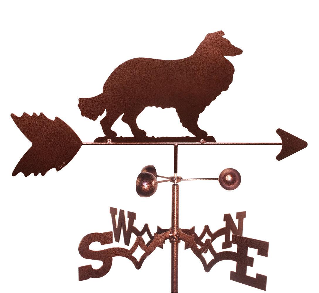 Hand Made BORDER COLLIE DOG FLAT POST Mount Weathervane ~NEW~