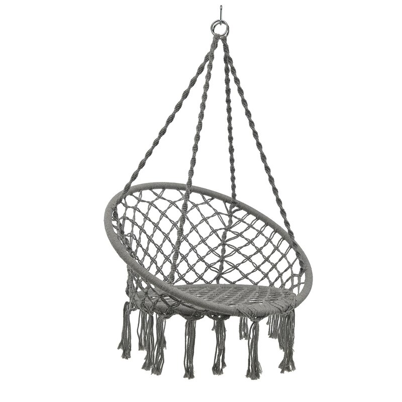 Dakota Fields Hammock Chair Swing Hanging Rope Seat Net Chair Tree Outdoor Porch Patio Indoor Grey Reviews