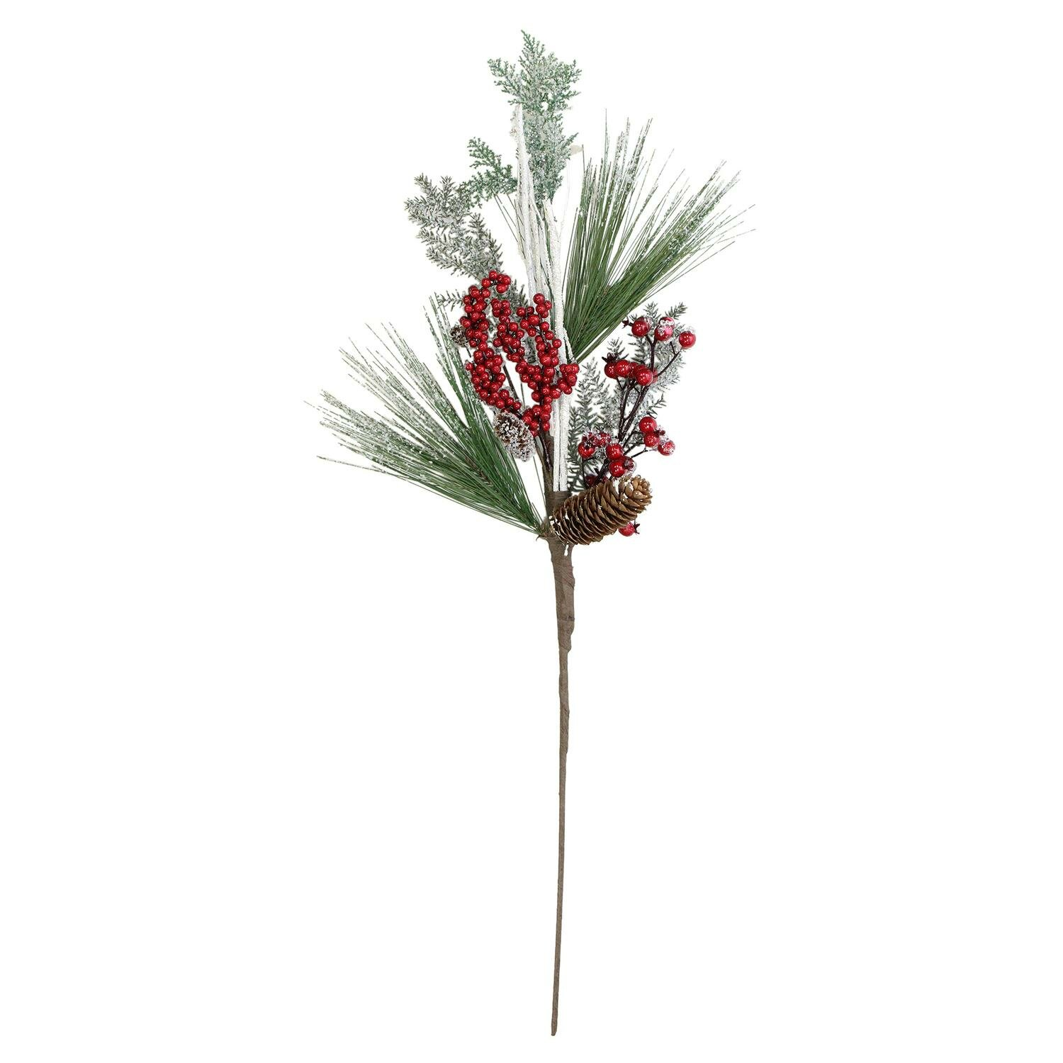 Northlight 31 Bellsberries And Pine Cones Frosted Artificial Christmas Spray Branch Wayfair