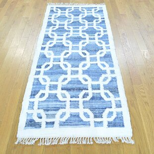 Compare prices One-of-a-Kind Jarboe Handmade Kilim Runner 2'7 x 6'3 Wool Blue/White Area Rug By Isabelline