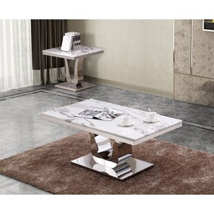 Everly Quinn Maidste Marble 2 Piece Coffee Table Set