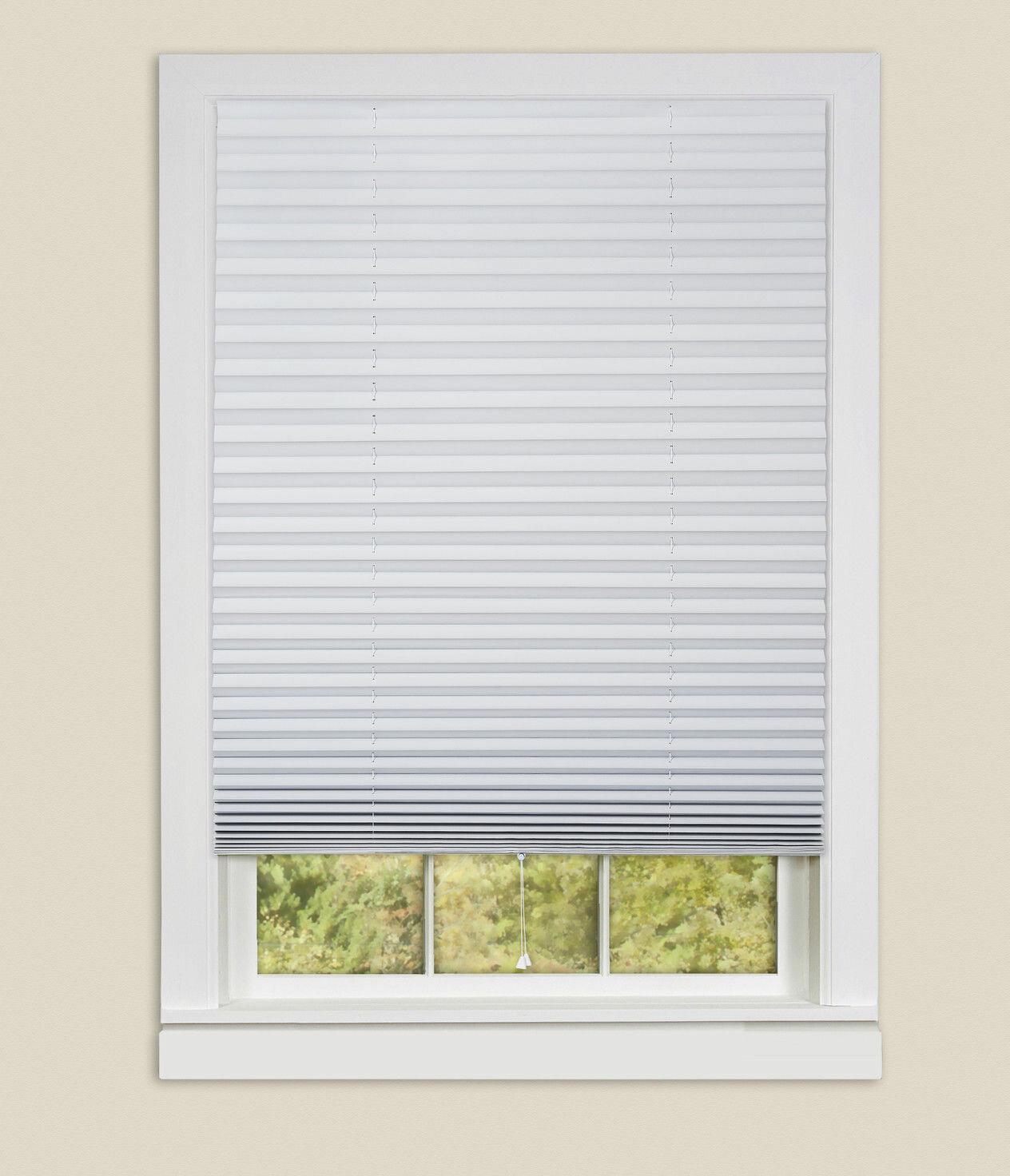 Pleated Window Curtains Shade Darkening Vinyl Blinds Half Blackout Self-Adhesive