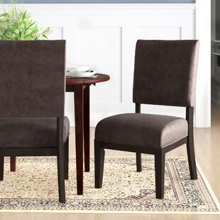 Fred Upholstered Side Chair in Espresso Set of 2 by Millwood Pines