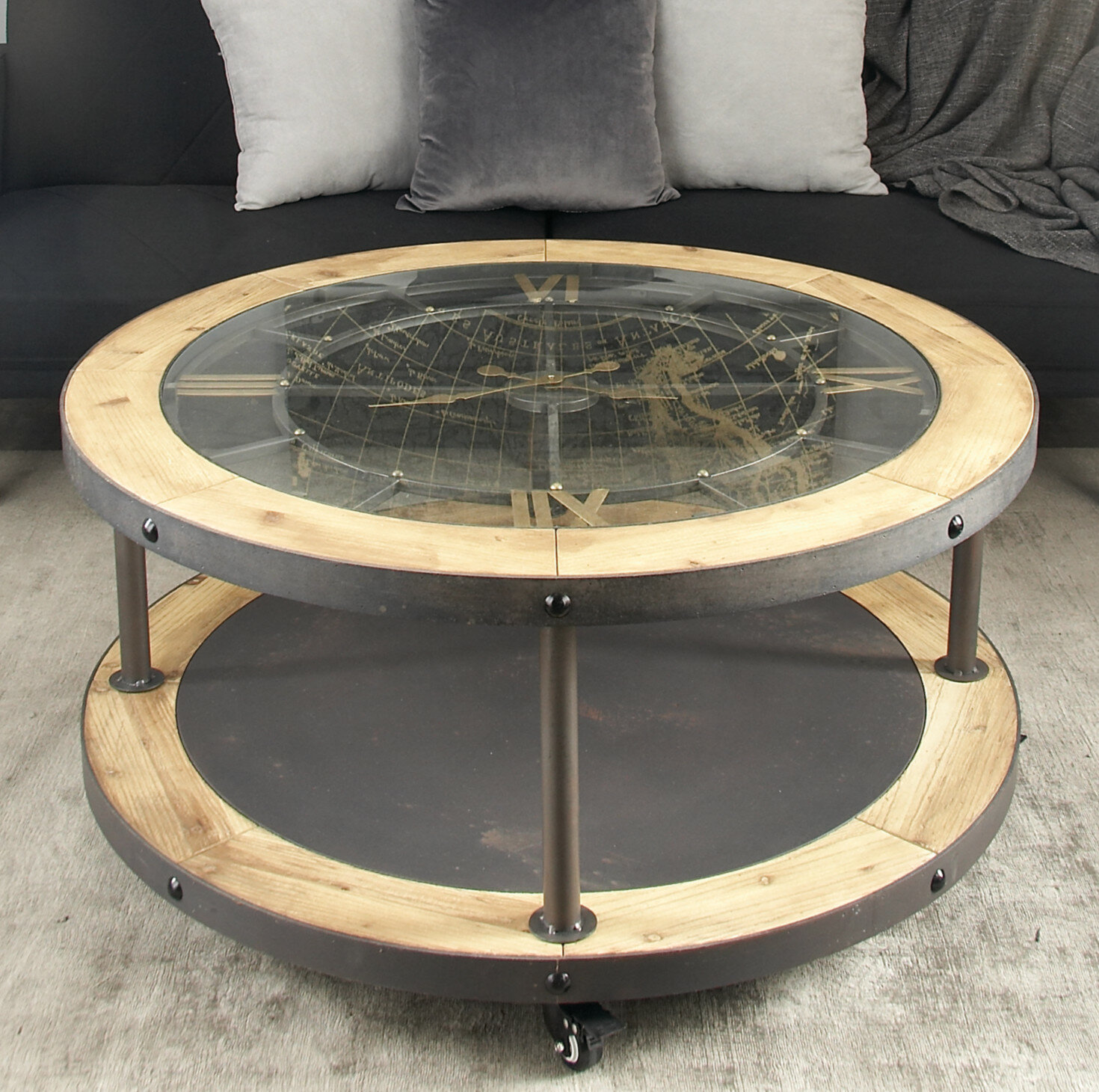 Wood Clock Coffee Table