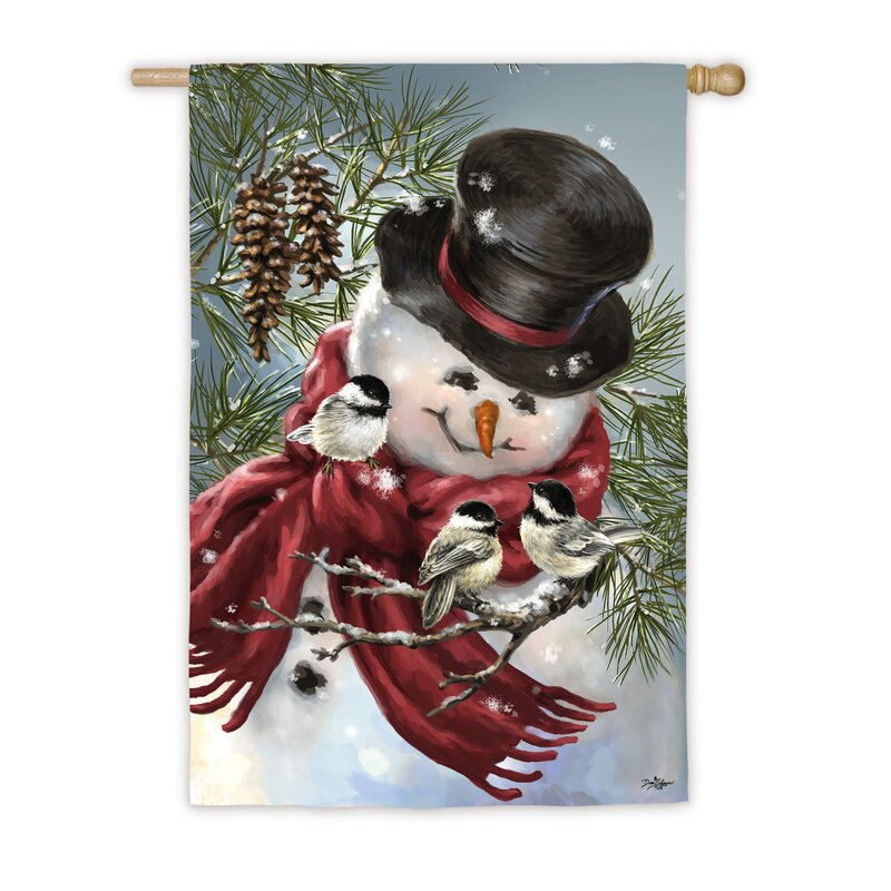 Evergreen Flag Garden Snowman Snuggles 2 Sided Polyester 18 X 13 In House Flag Wayfair