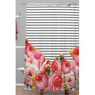 Find Deleon Bold Floral and Stripes Polyester Shower Curtain ByBrayden Studio