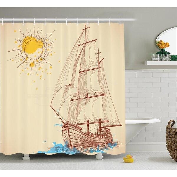 East Urban Home Sailing Boat Nautical Decor Shower Curtain