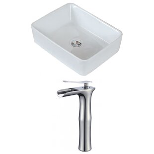 Compare prices Above Counter Ceramic Rectangular Vessel Bathroom Sink with Faucet ByRoyal Purple Bath Kitchen