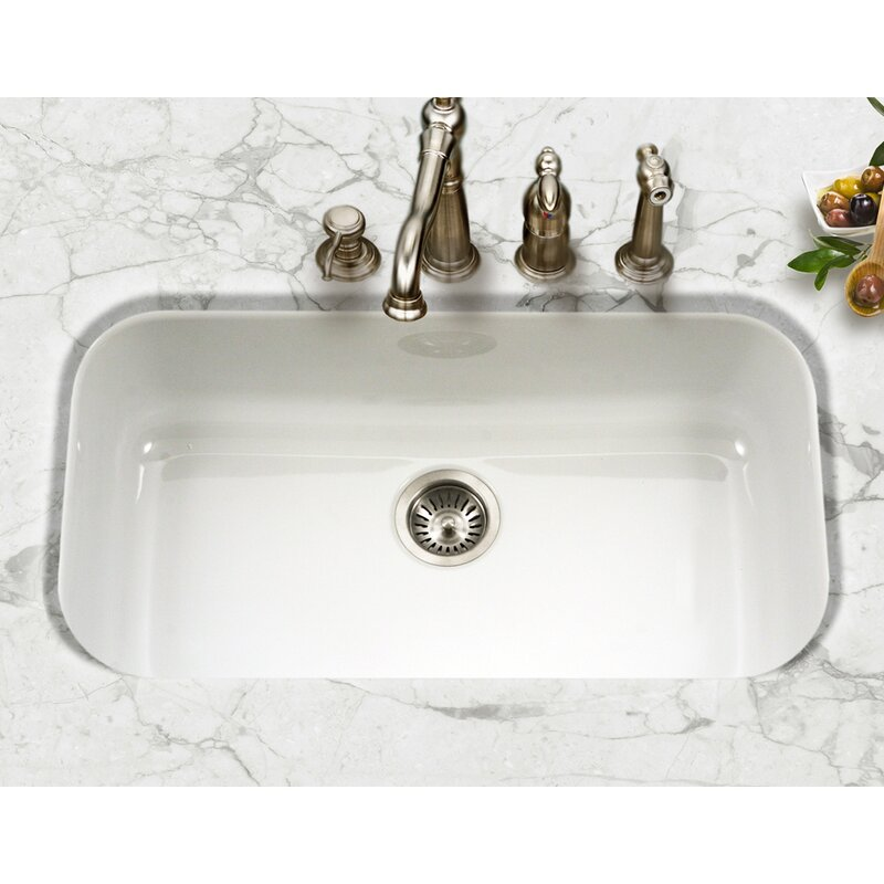 houzer porcela 30 9 l x 17 32 w porcelain enamel steel gourmet rh wayfair com kohler undermount porcelain kitchen sinks undermount porcelain kitchen sinks