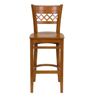 Buy luxury Escarcega Lattice Back Wooden Restaurant Bar Stool by Darby Home Co Reviews (2019) & Buyer's Guide