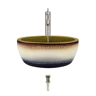 Look for Artisan Ceramic Circular Vessel Bathroom Sink with Faucet ByMR Direct