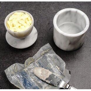 2 Piece Marble Butter Pot Set