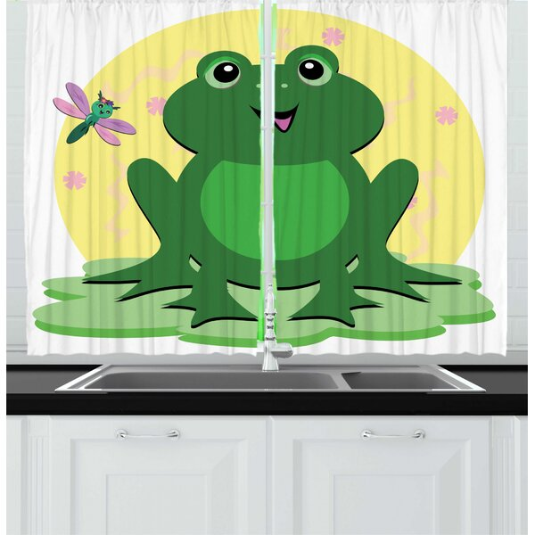 East Urban Home 2 Piece Frogs Childish Concept Amphibian Animal And Dragonfly Kitchen Curtain Set Wayfair