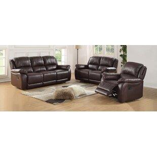 Latitude Run Juan Reclining 3 Piece Leather Living Room Set