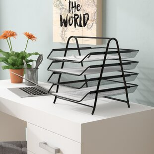 Mind Reader 4 Tier Steel Mesh Paper Tray Desk Organizer