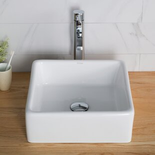Comparison Ceramic Ceramic Square Vessel Bathroom Sink with Faucet By Kraus