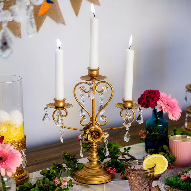 Daina Antique Glass Candelabra