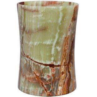 Fleur De Lis Living Root Onyx Stone 1.5 Gallon Waste Basket