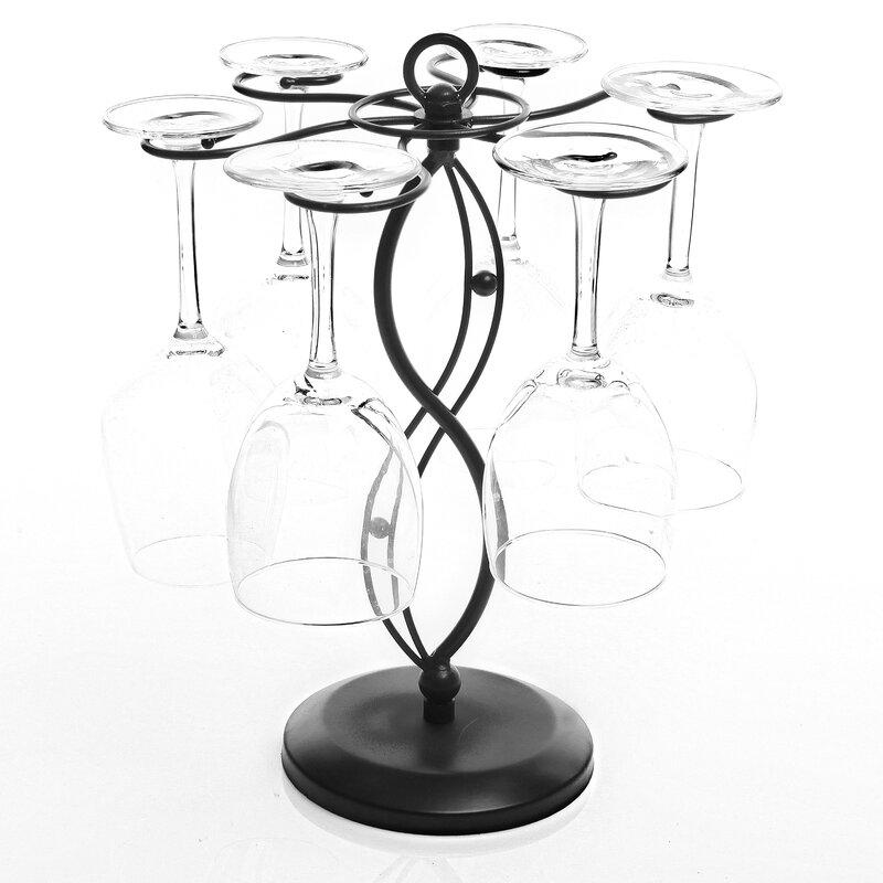 Winston Porter Lenville Floor Wine Glass Rack in Black