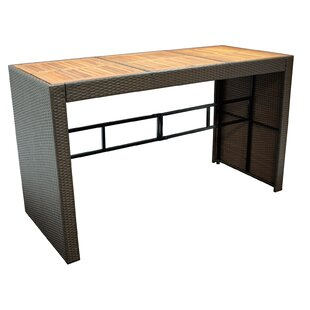 Creighton Wooden And Rattan Bar Table By Sol 72 Outdoor
