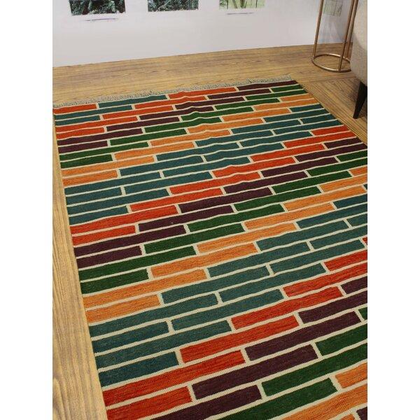 Foundry Select Hults Handmade Kilim Wool Orange Red Green Rug Wayfair