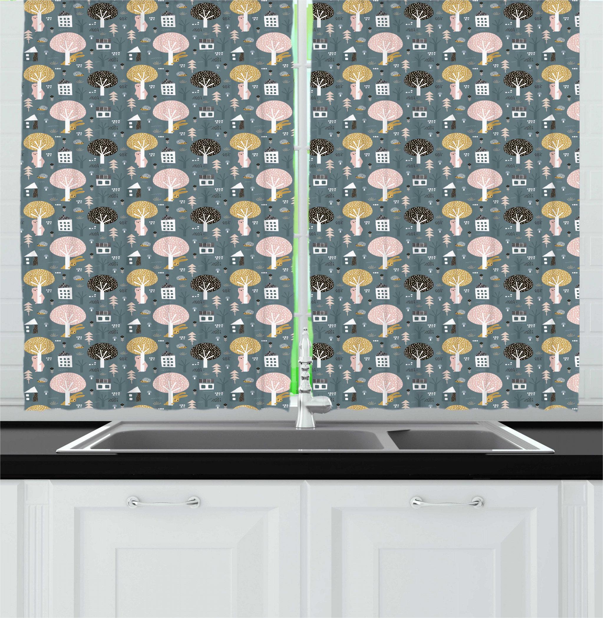 East Urban Home Doodle Cartoon Bears Bunny Hedgehog Trees And Floral Houses Branch Baby Shower Nursery Kitchen Curtain Wayfair