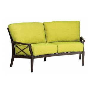 Andover Crescent Loveseat with Cushions by Woodard