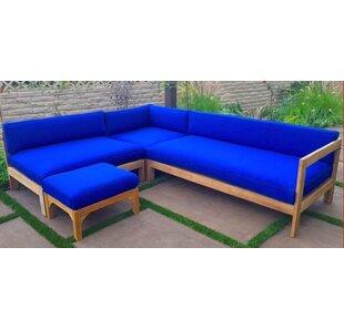 Trijaya Living Manhattan 4 Piece Teak Sunbrella Sectional Set with Cushions