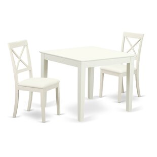 Cobleskill 3 Piece Solid Wood Dining Set by Alcott Hill