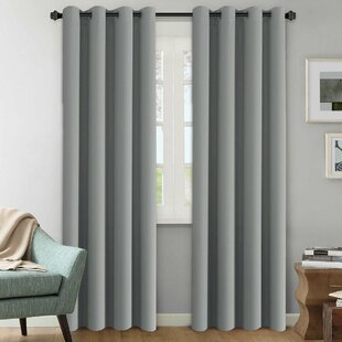 Howser Solid Room Darkening Thermal Grommet Curtain Panels (Set of 2) by Alcott Hill