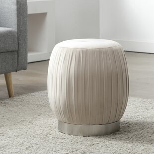 Anacortes Pleated Fabric Ottoman by Everly Quinn